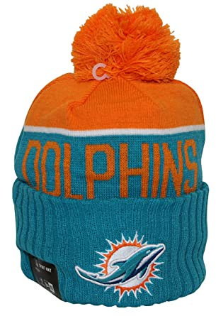 huge discount d1646 277a2 Image Unavailable. Image not available for. Color  New Era NFL15 On-Field Sport  Knit Miami Dolphins Teal Orange Pom
