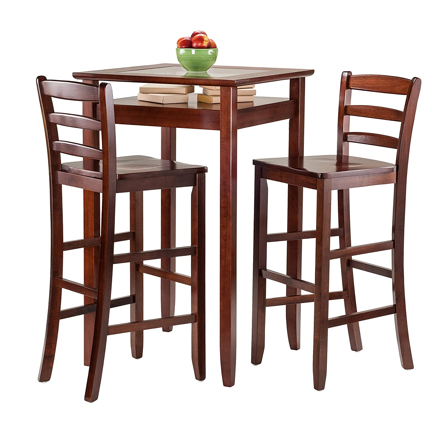 amazon com winsome wood halo 3 piece pub table set with 2 ladder