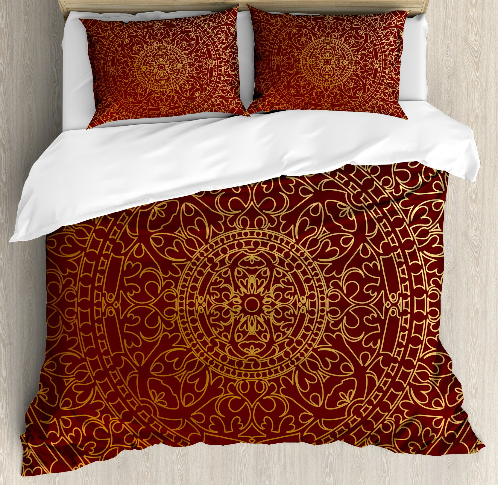 Maroon King Size Duvet Cover Set by Ambesonne, Antique Arabic Artwork Oriental Mandala Inspired Round Ornament Moroccan Ethnic, Decorative 3 Piece Bedding Set with 2 Pillow Shams, Gold Maroon