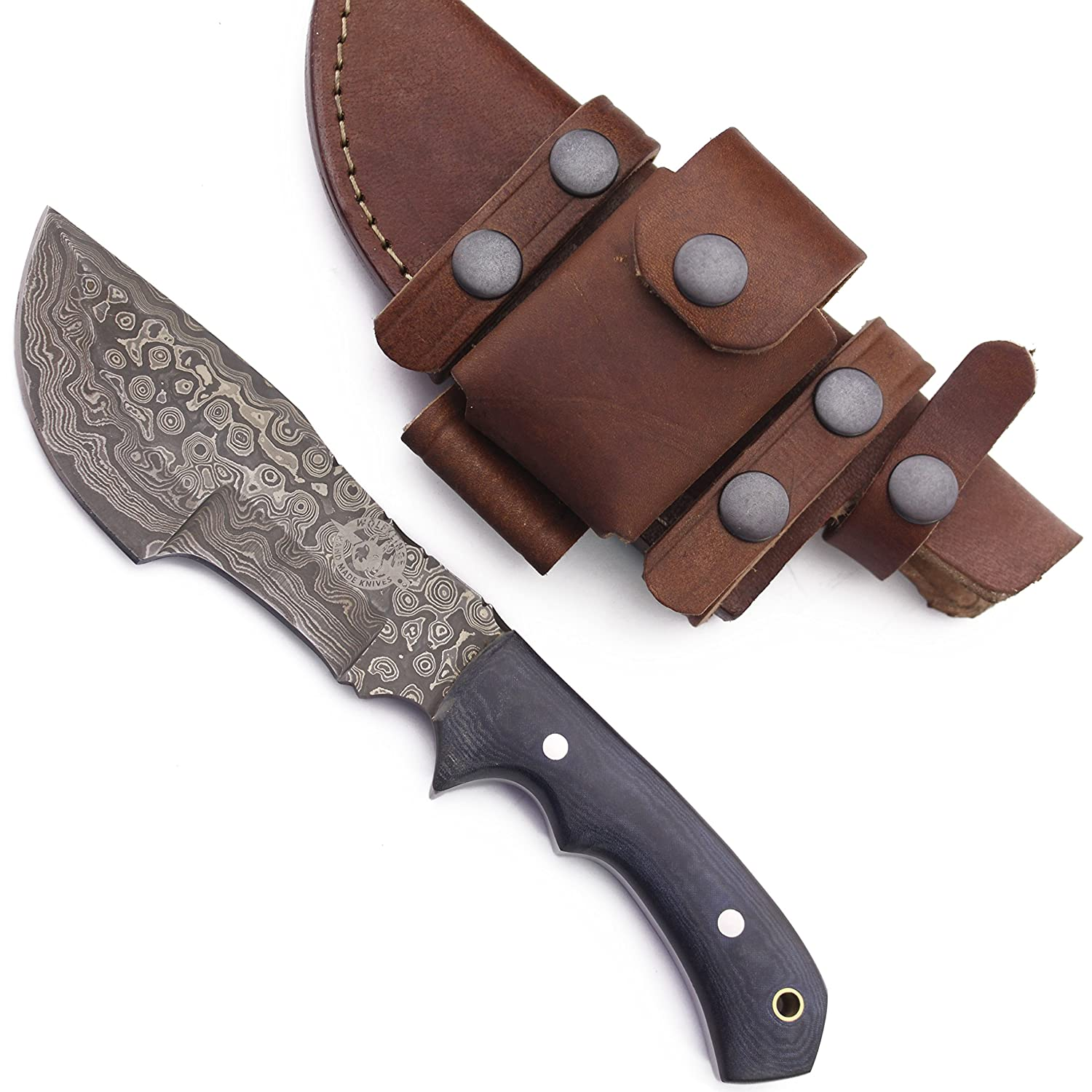 WolfKlinge DCX17-67 Handmade Damascus Steel Hunter Trackker, Micarta Handle, with Cowhide Leather Sheath