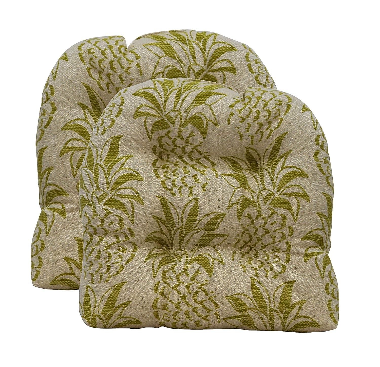 RSH D cor Indoor Outdoor Decorative 2 Chair Wicker U-Shape Tufted Cushion Sets 19 x 19 , Green Olefin Pineapple