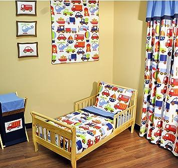 Amazon Com Bacati Transportation Blue 4 Piece Toddler Bedding