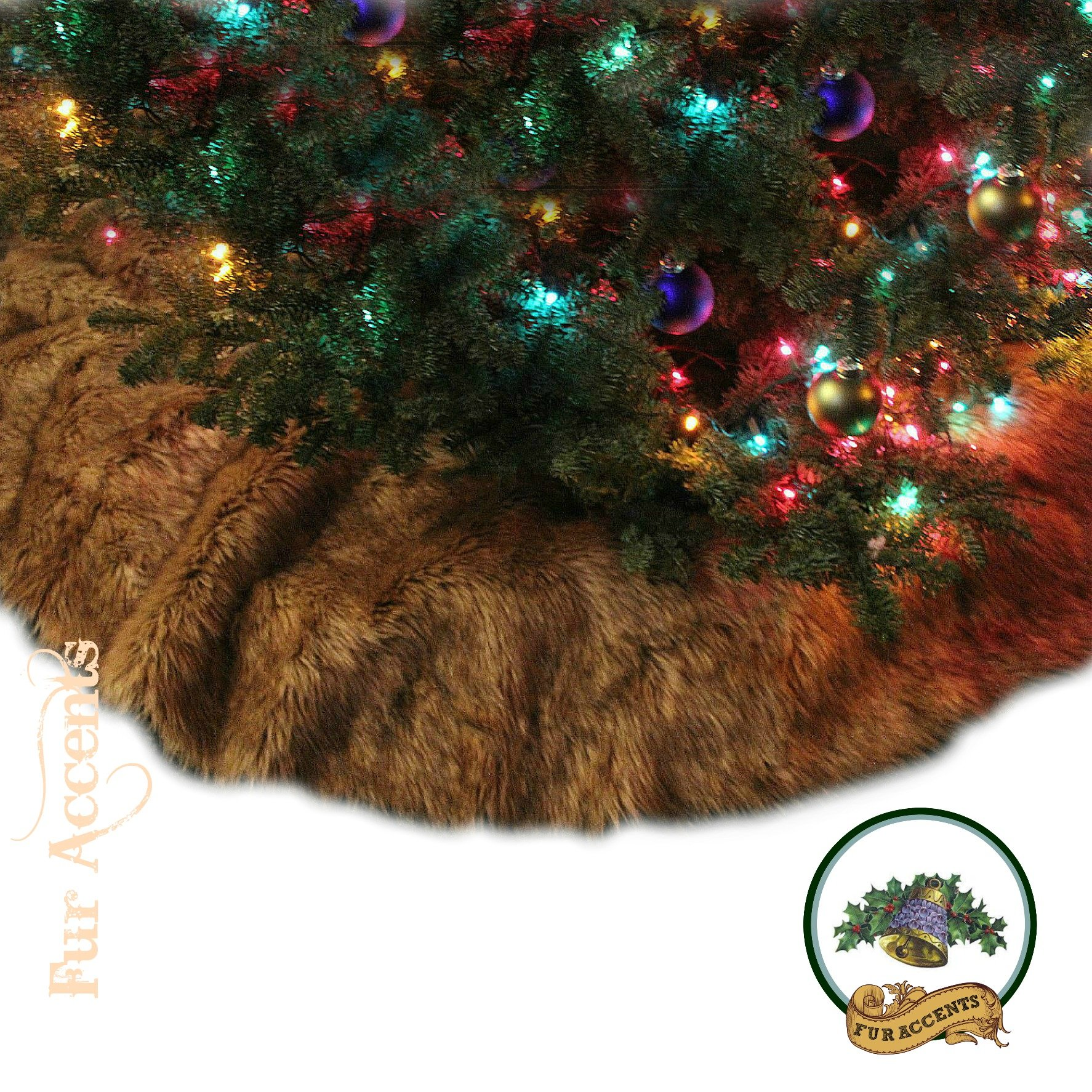 FUR ACCENTS KEEPSAKE CHRISTMAS TREE SKIRT - SOFT SHAGGY FAUX FUR WOLF - COYOTE ROUND (60'')
