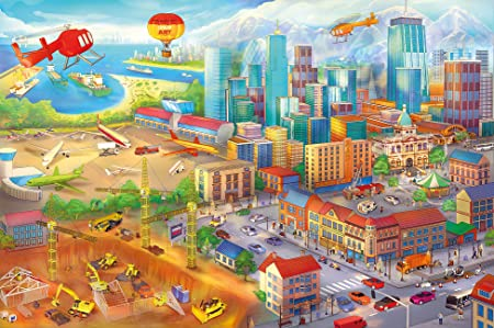 Fototapete Kinderzimmer comic style - Wandbild Dekoration Wimmelbild Großstadt Baustelle Hubschrauber Flugzeug Bagger Flughaf