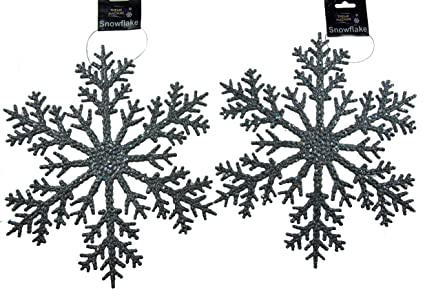 Set Of 2 Giant Xl Hanging 31cm Silver Glitter Snowflake Christmas