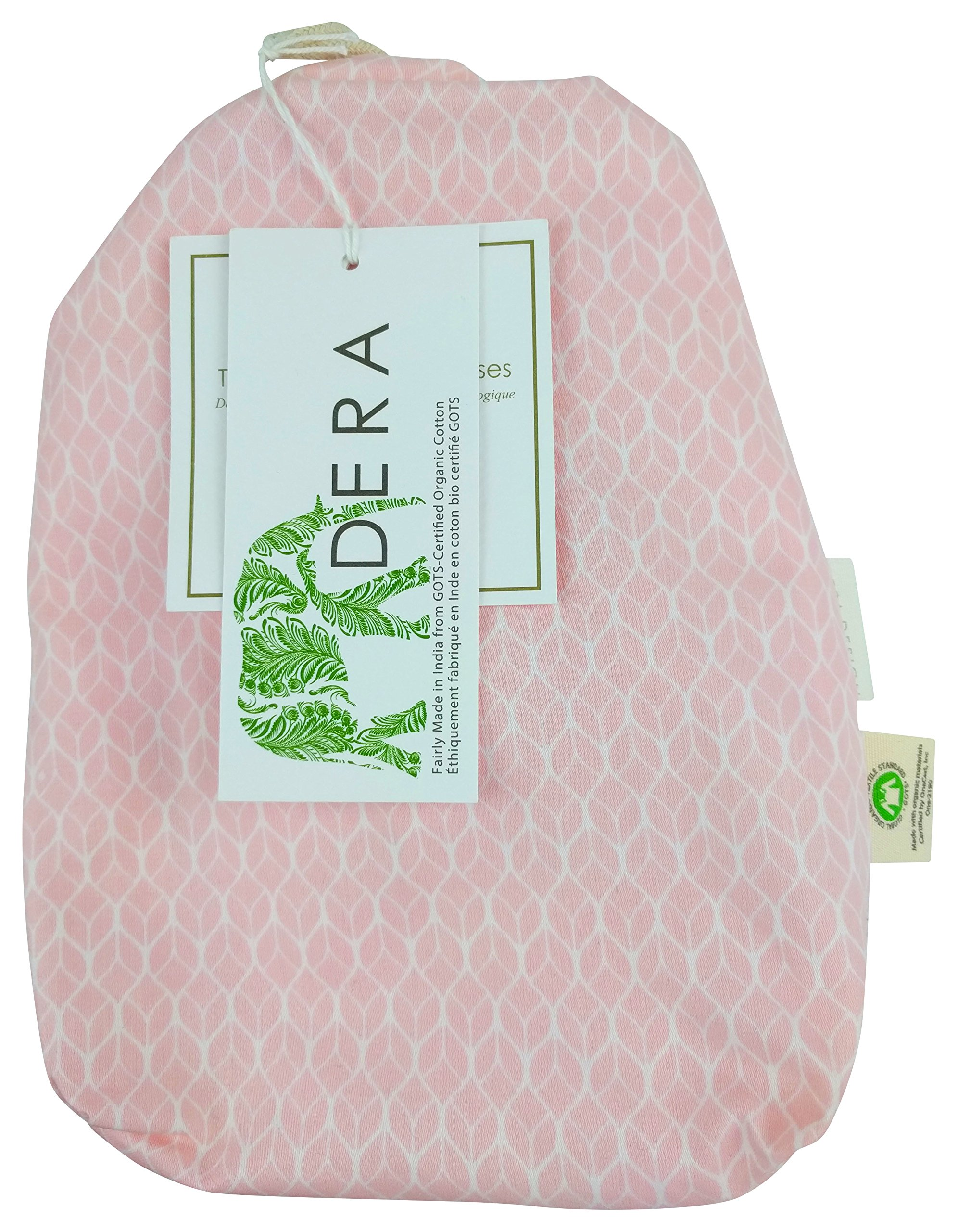 """Organic Cotton Portable Playard Fitted Crib Sheet, 27"""" x 39"""" x 5"""" to Fit Pack 'n Play for Babies & Toddlers, Geo Leaf Print (Rose)"""