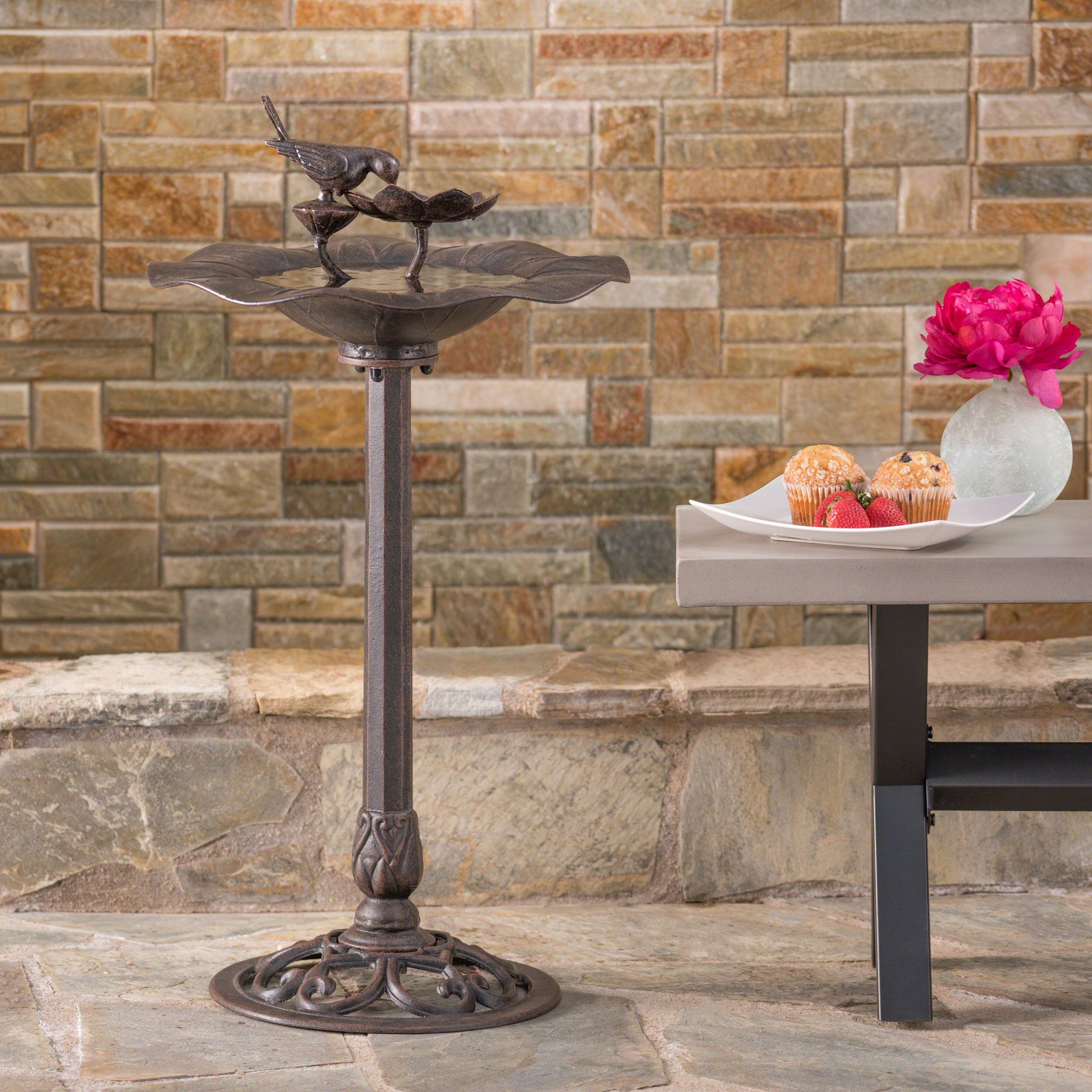 Lancaster Outdoor Bronze Finished Aluminum Top Bird Bath with Iron Base by Christopher Knight Home