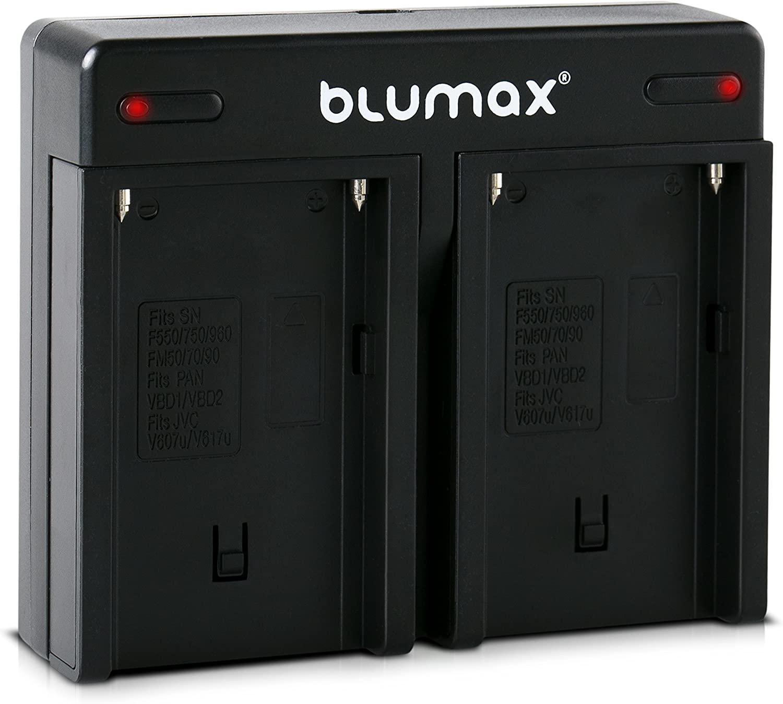 Blumax Doppel-Ladeger/ät ersetzt Sony NP-F970 Np-F960 Dual Charger 2 Akkus gleichzeitig Laden kompatibel mit Sony NP-F970 NP-F960 NP-F990 NP-F550 NP-F750 NP-FM50 NP-FM500H NP-FM500
