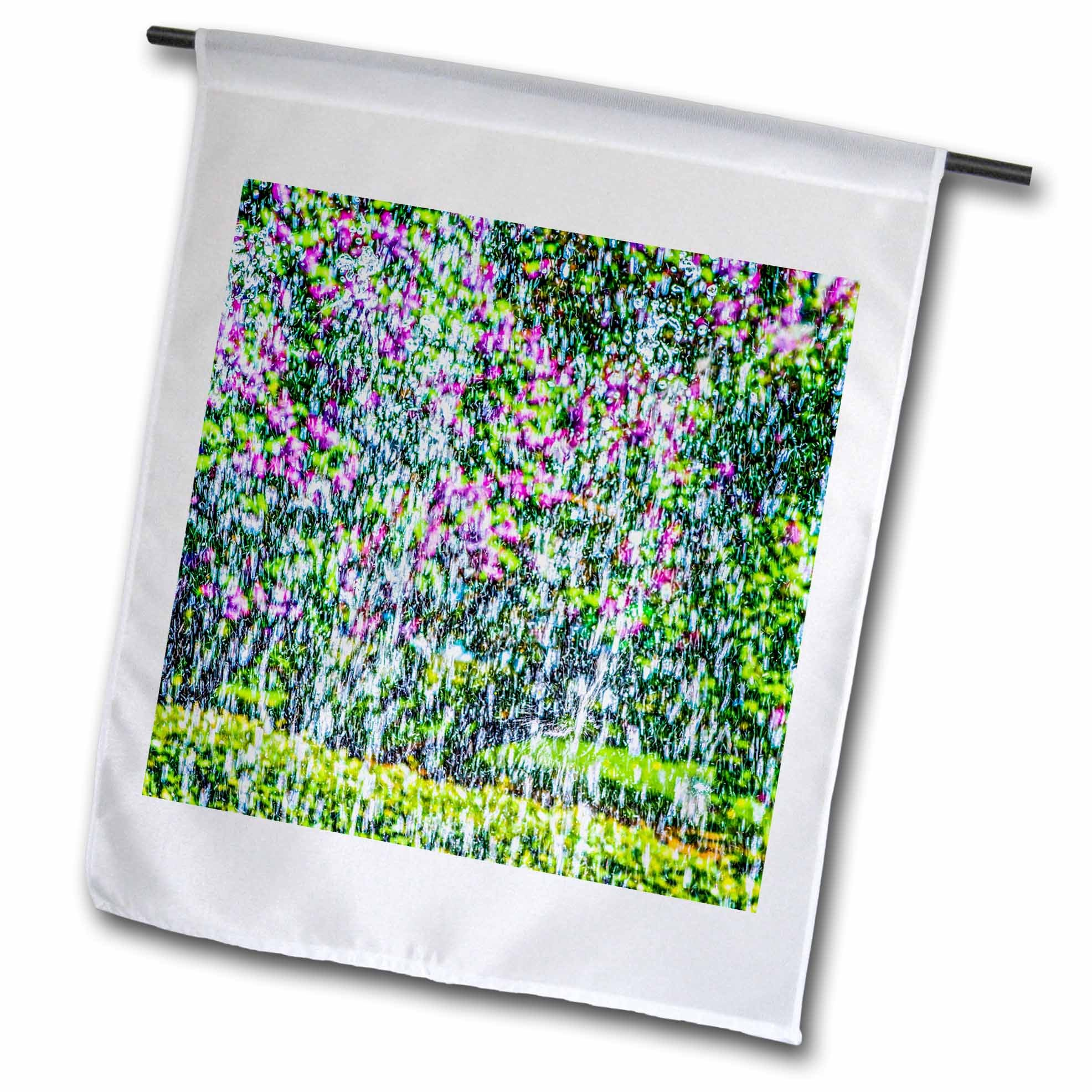 3dRose Alexis Photography - Abstracts - Lilac flowers behind the fountain. Impressionism of the first water - 18 x 27 inch Garden Flag (fl_270598_2)