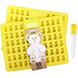 PROFESSIONAL GRADE GUMMY BEAR Mold (2 PACK) + Dropper + email Recipe PDF - by The Modern Gummy; Made of PURE LFGB SILICONE; Jelly, Gelatin, Chocolate, Ice, Soap, Candy Molds