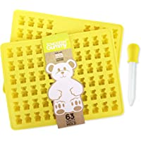 2 PACK - PROFESSIONAL GRADE PURE LFGB SILICONE Gummy Bear Mold by The Modern Gummy Make 126 Bears + Dropper + Recipe PDF; No Plastic Fillers BPA or Chemical Coating; Candy Chocolate Soap Gelatin