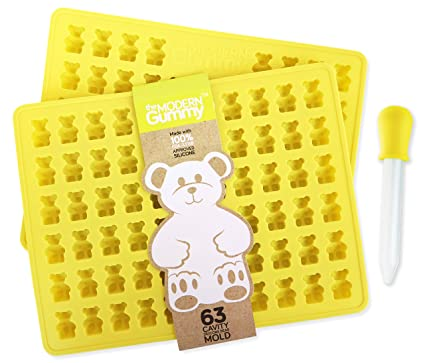 PROFESSIONAL GRADE GUMMY BEAR Mold (2 PACK) + Dropper + email Recipe PDF -  by The Modern Gummy