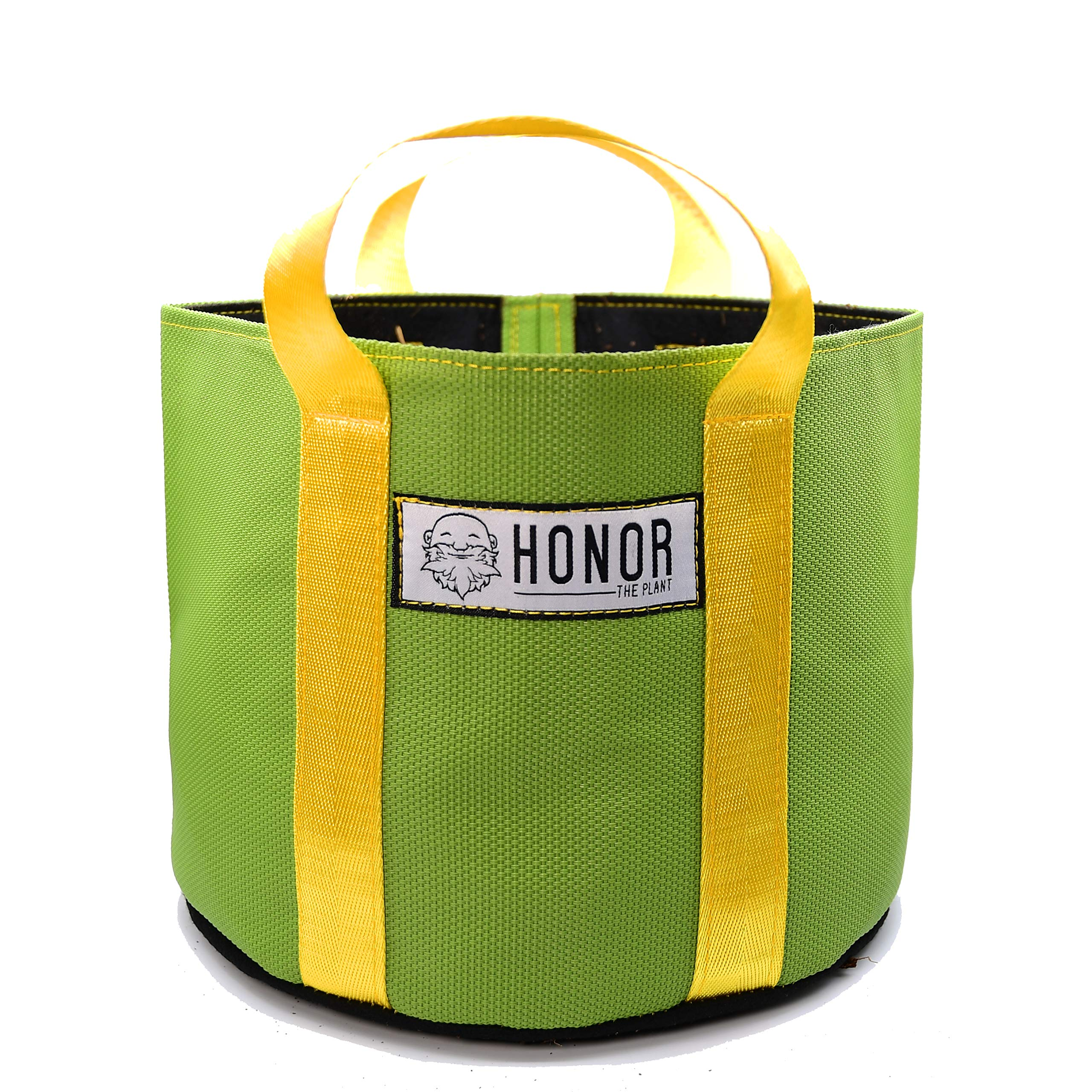 Honor Pro Series 8 Gallon Green CannaWall with Yellow Handles Indoor/Outdoor Fabric Grow Bags, Pack of 3 Bags by Honor the Plant