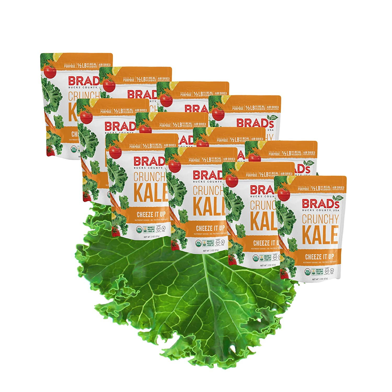 Brad'S Plant Based Organic Crunchy Kale, Cheeze es Up, 12 Bags, 24 Servings Total