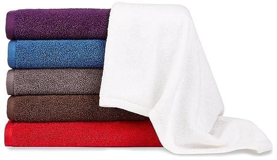 AmazonBasics - Juego de toallas (secado rápido, 2 toallas de baño y 2 toallas de manos), color morado: Amazon.es: Hogar