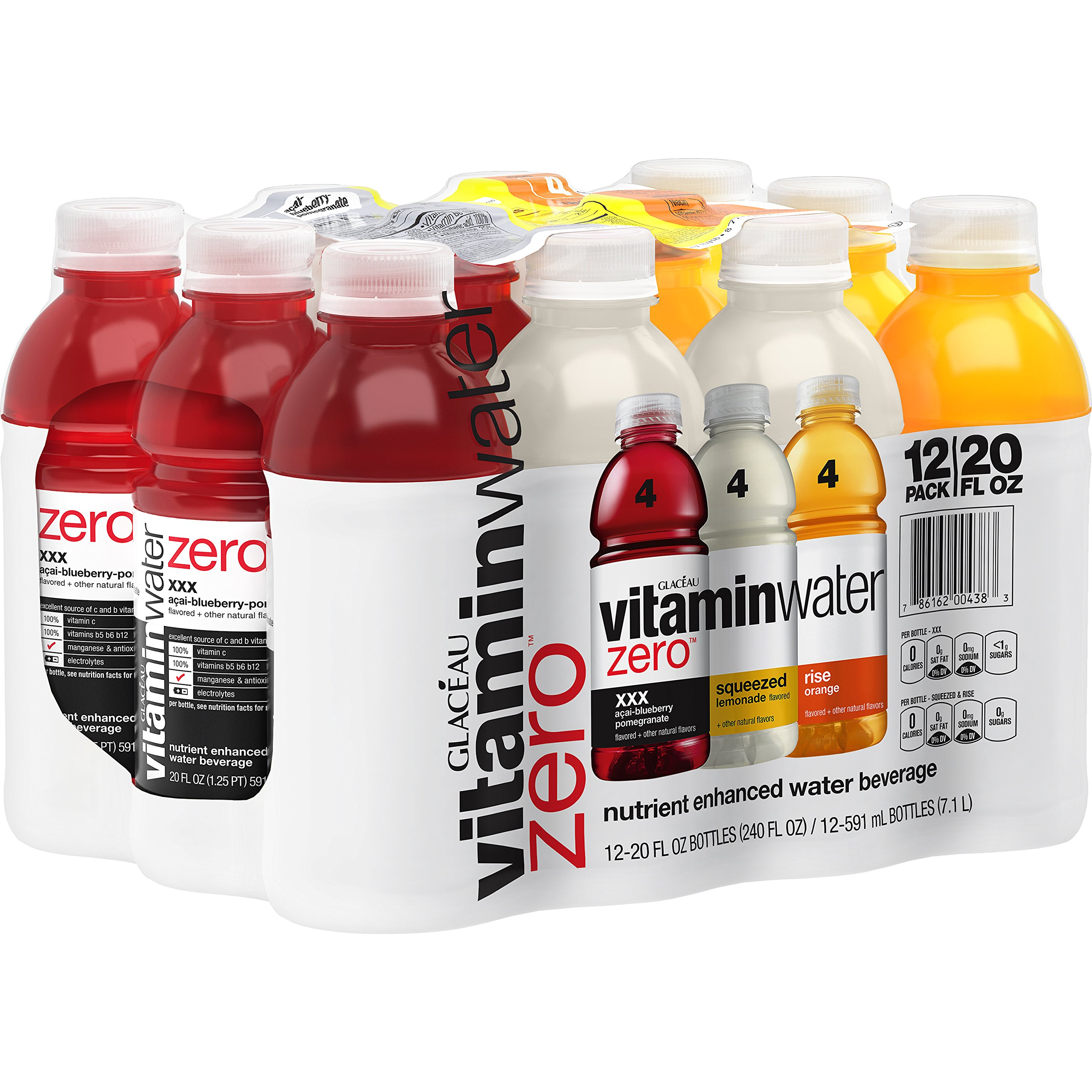 vitaminwater zero variety pack, 20 fl oz, 12 Pack