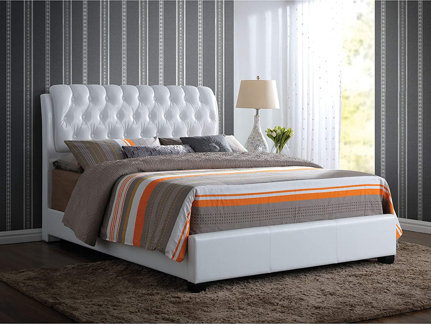 ACME Ireland II Eastern King Bed (Button Tufted) - - White PU