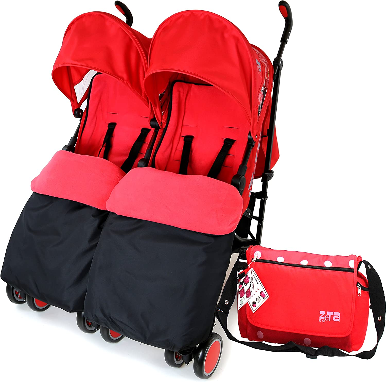Warm Red Double Stroller Complete with FootMuffs and Bag Zeta Citi Twin Stroller Buggy Pushchair