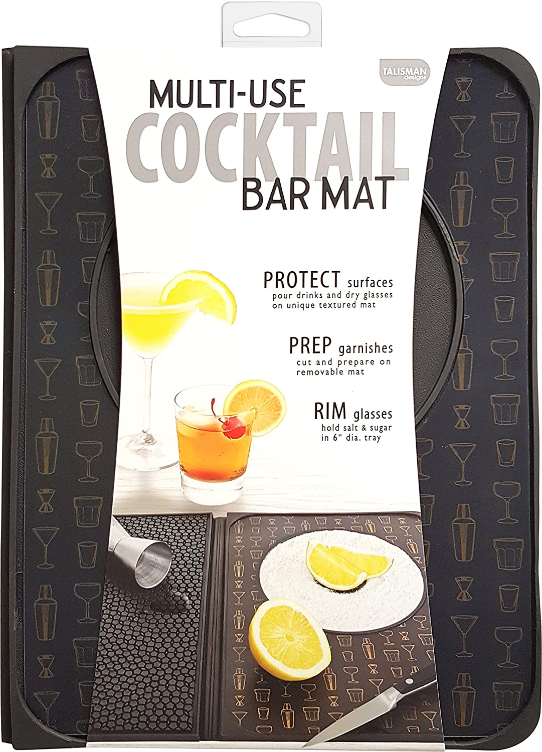 Talisman Designs Multi-Use Cocktail bar Mat, Black 5010