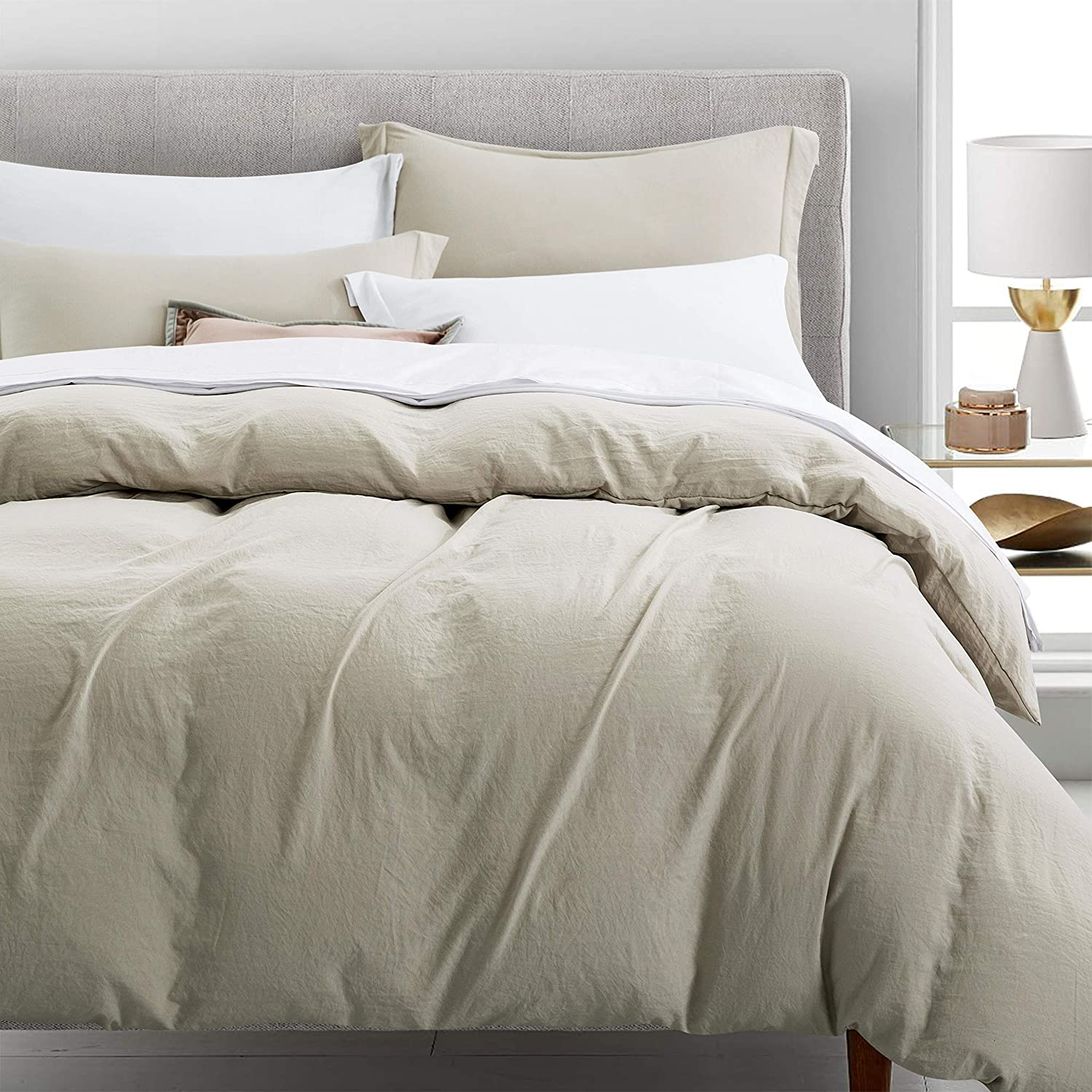 Newspin Bedding Duvet Cover Set Ultra Soft Double Brushed Microfiber 100% Washed Lightweight Comforter Cover with Hidden Zipper Closure - 3 Piece Full/Queen Duvet Cover, Moon Beam