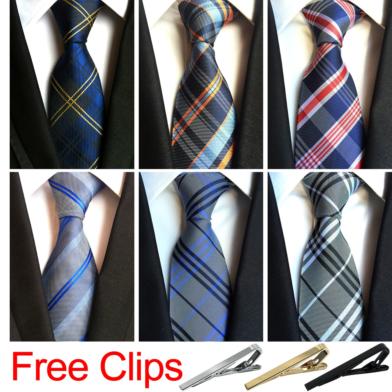 Jeatonge Lot 6pcs Mens Ties and 3pcs Tie Clips, Men's Classic Tie Necktie Woven Jacquard Neck Ties