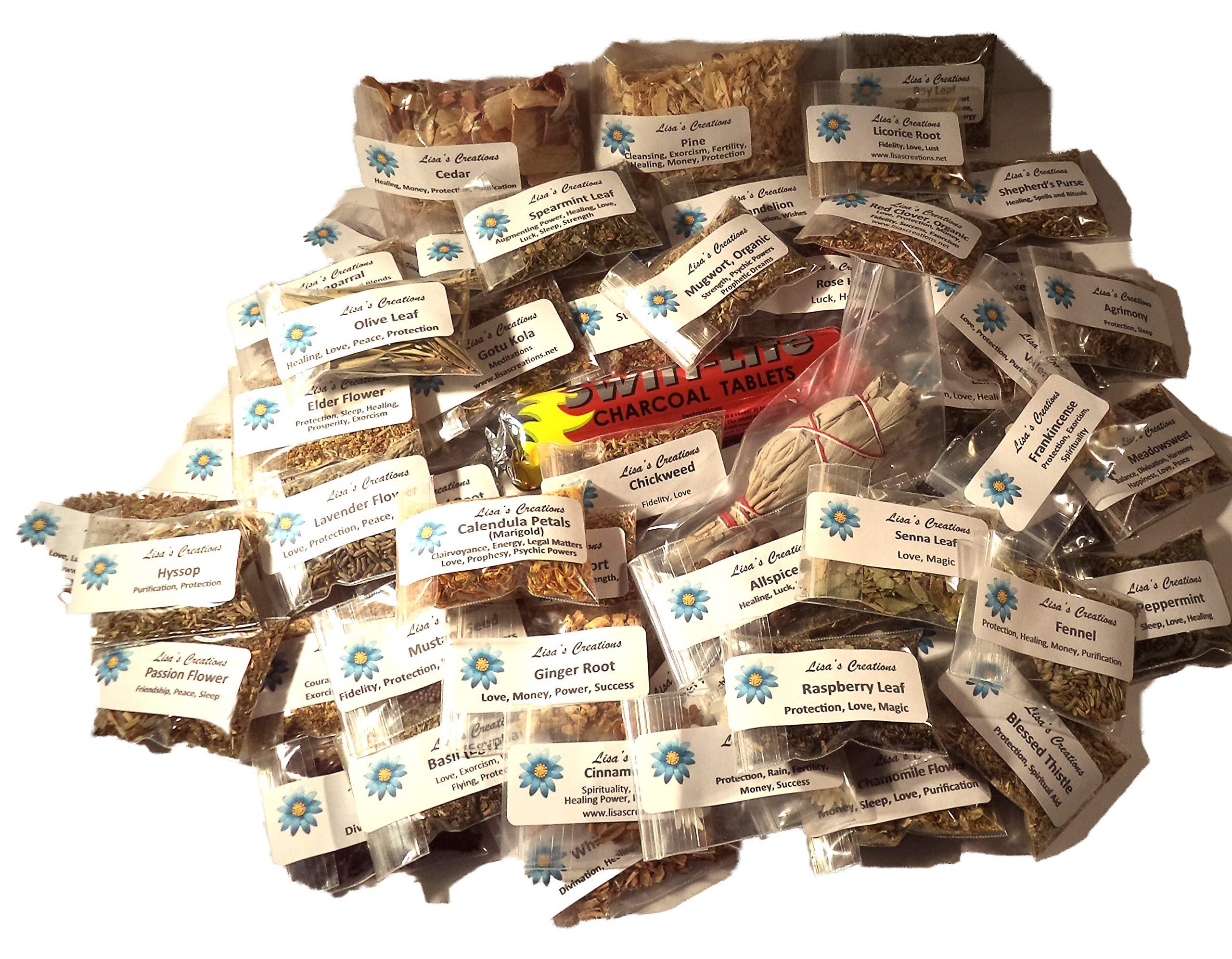 Lisa's Creations, Inc - 85 Herb Sampler Kit - with Charcoal, White Sage Wand, and Handmade 3'' x 3'' Muslin Bags