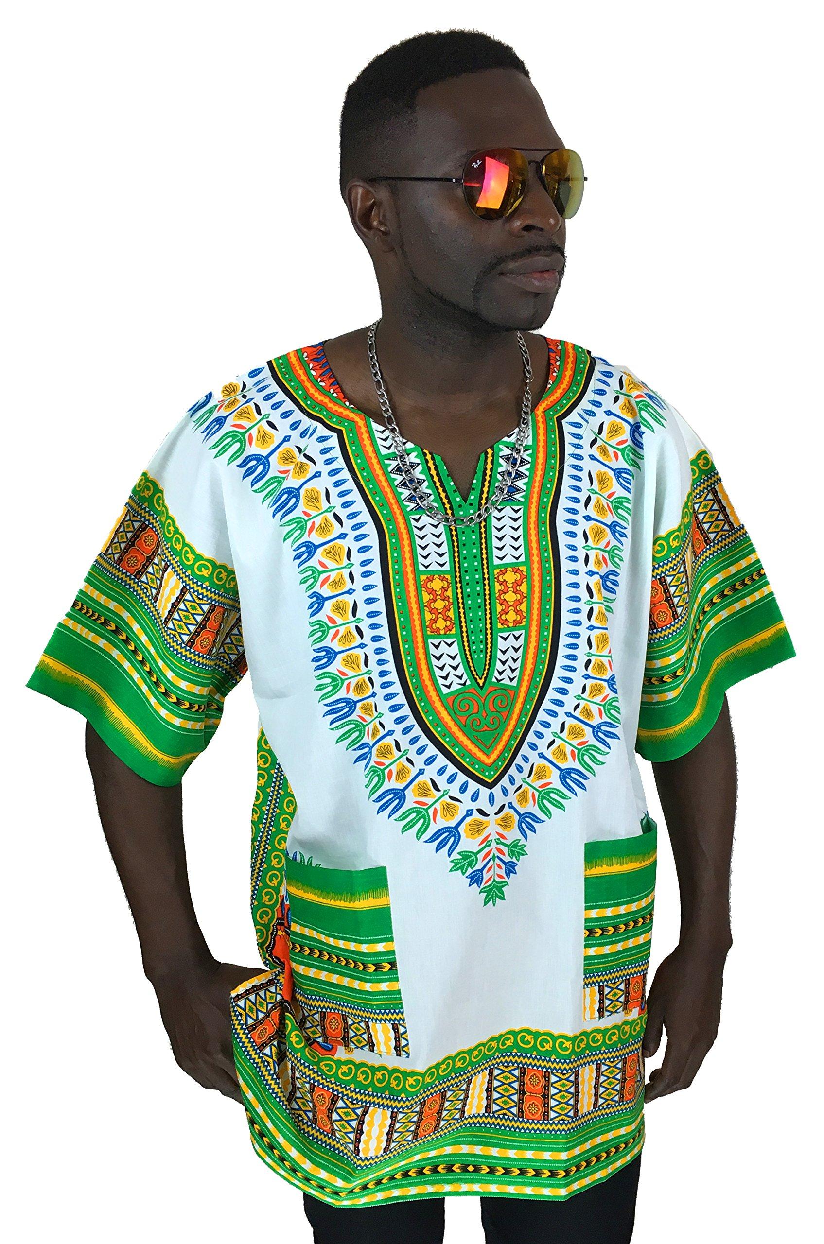 Vipada's Dashiki Shirt African Top Men's Dashiki White with Green New XXL