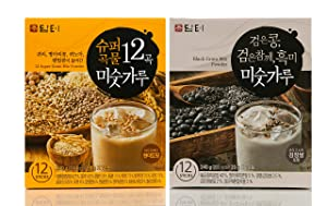 DAMTUH Korean Roasted Black Grains Mixed Powder with Black Beans, Black Sesame Seeds, Black Rice, + 12 Super Grains Mixed Powder with Oats, Chickpeas, Quinoa (Misugaru 20g), 2 Boxes (12 Sticks x 2)