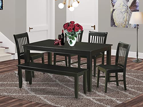 East West Furniture 6-Piece Dinette Set Included a Rectangular Dinner Table and 4 Dining Room Chairs Plus a Lovely Bench