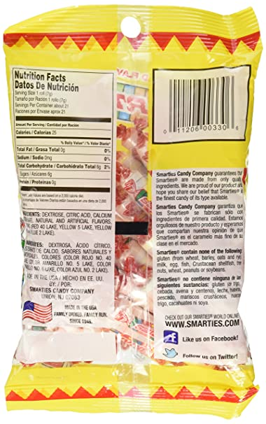 Amazon.com : Smarties Original: 5.5 oz (155 g) Bag (Pack of 2) : Grocery & Gourmet Food