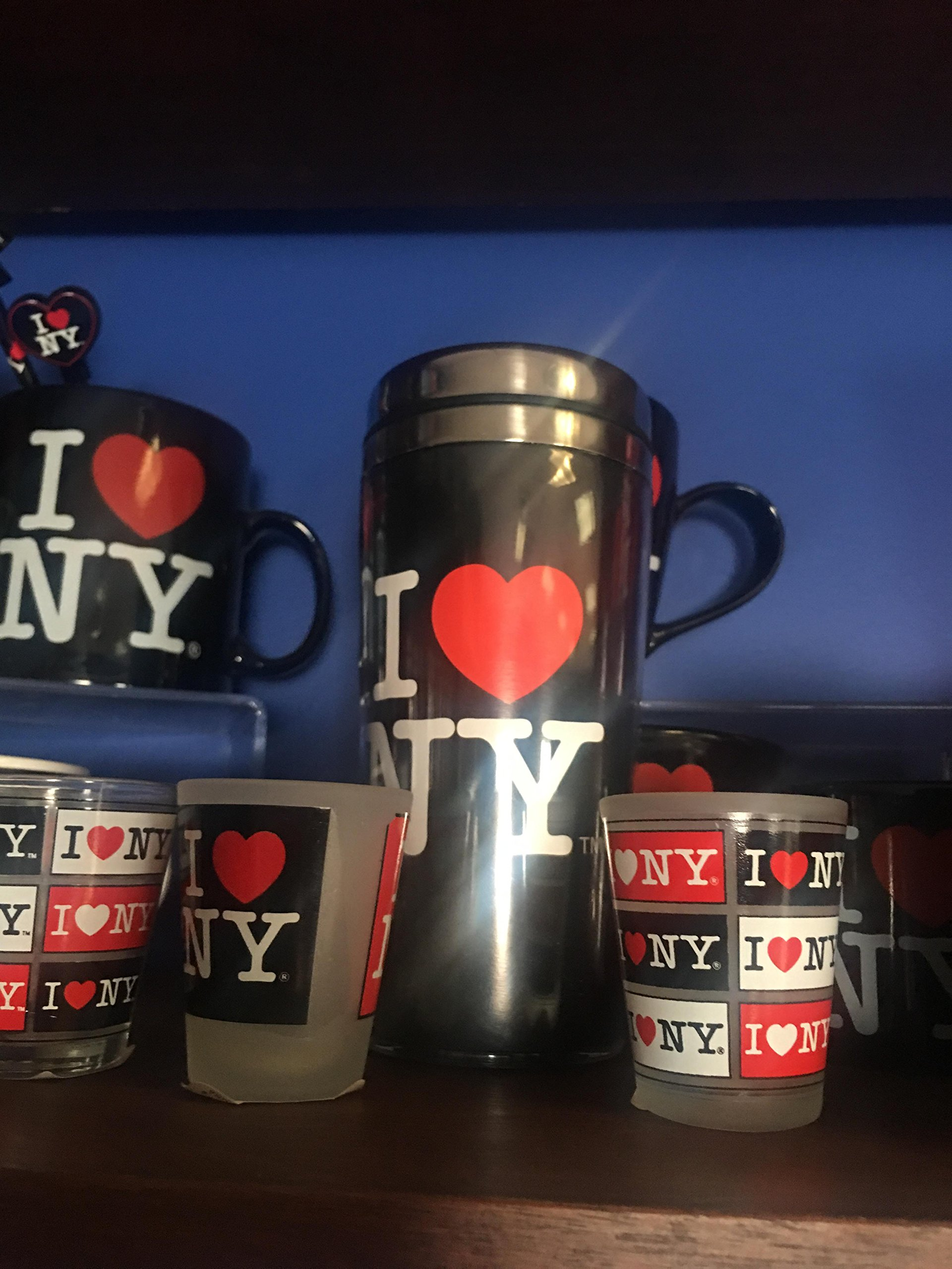 Citydreamshop's I Love New York Large Black Travel Mug Perfect souvenir Travel mug for Iced Coffee in Summer and a Hot beverage in winter
