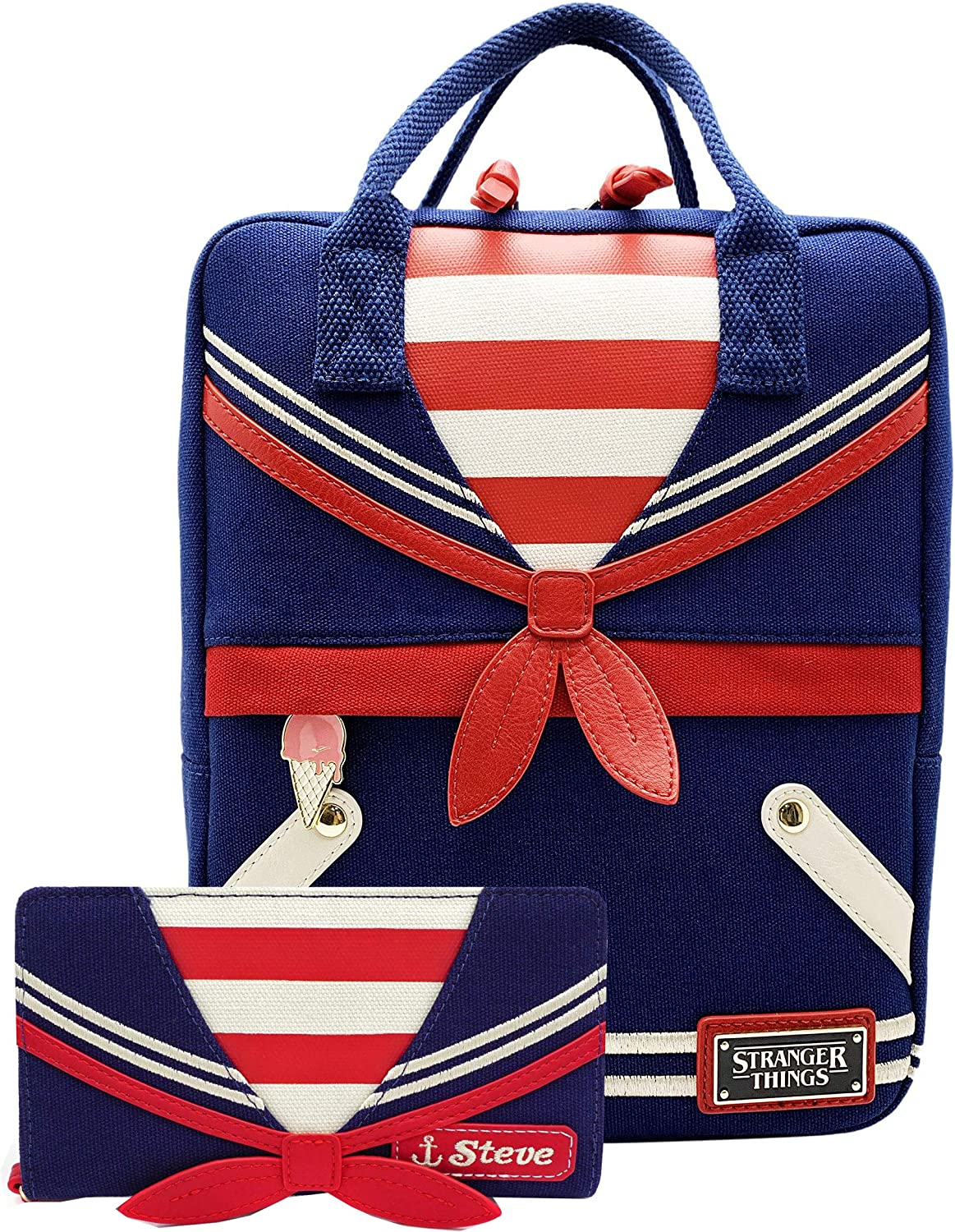 Loungefly Stranger Things Scoops Ahoy Canvas Backpack Wallet Set