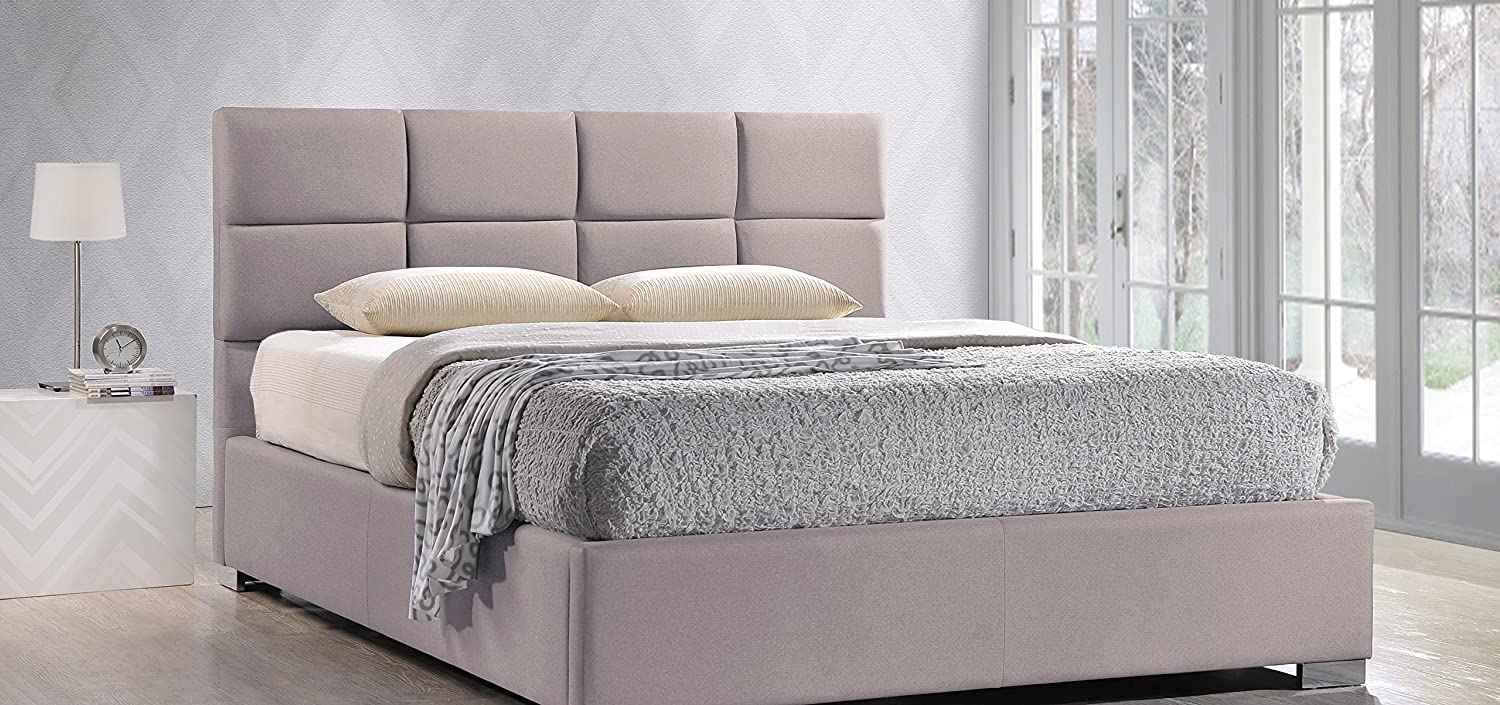 amazoncom baxton studio sophie modern u0026 linen upholstered platform bed queen beige kitchen u0026 dining - Wayfair Platform Bed
