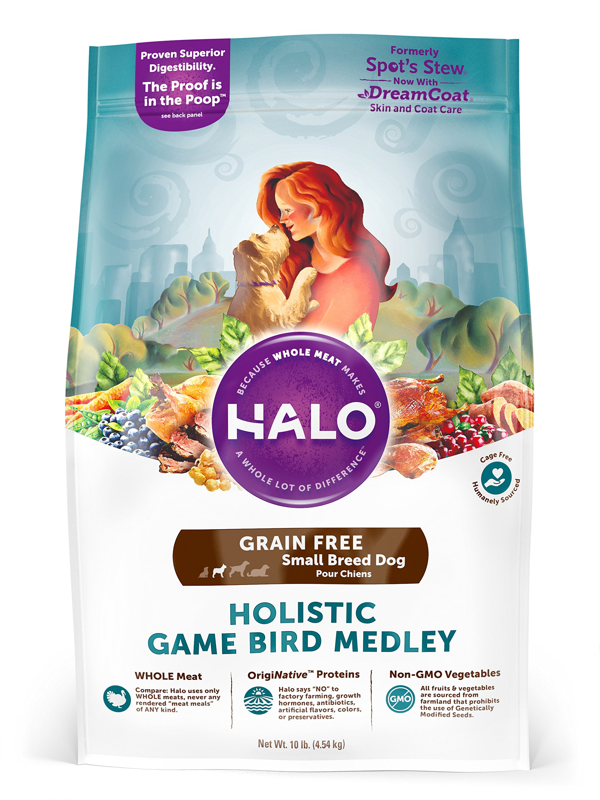Halo Grain Free Natural Dry Dog Food, Small Breed Game Bird Medley, 10-Pound Bag by HALO