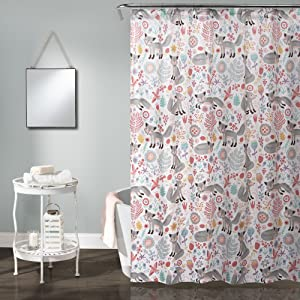 "Lush Decor Pixie Fox 72"" x 72"" Shower Curtain, Gray & Pink"