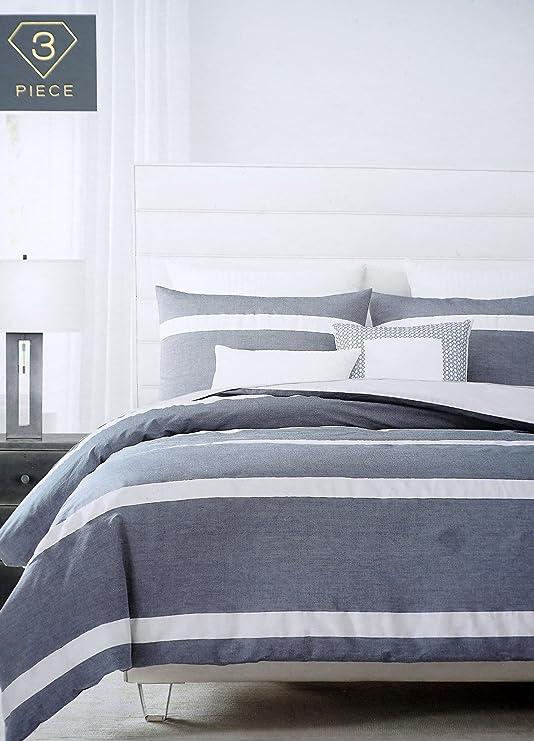 Harlow Bedding Cotton King Size Bed Luxury 3 Piece Striped Pattern Duvet Cover Set White Horizontal Stripes on Dark Blue