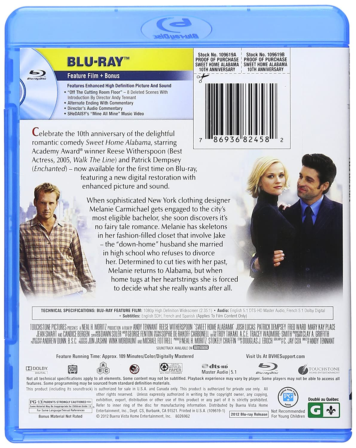 Amazon Com Sweet Home Alabama 10th Anniversary Edition Blu Ray Reese Witherspoon Josh Lucas Patrick Dempsey Candice Bergen Mary Kay Place Fred Ward Jean Smart Ethan Embry Melanie Lynskey Courtney Gains Mary Lynn Rajskub