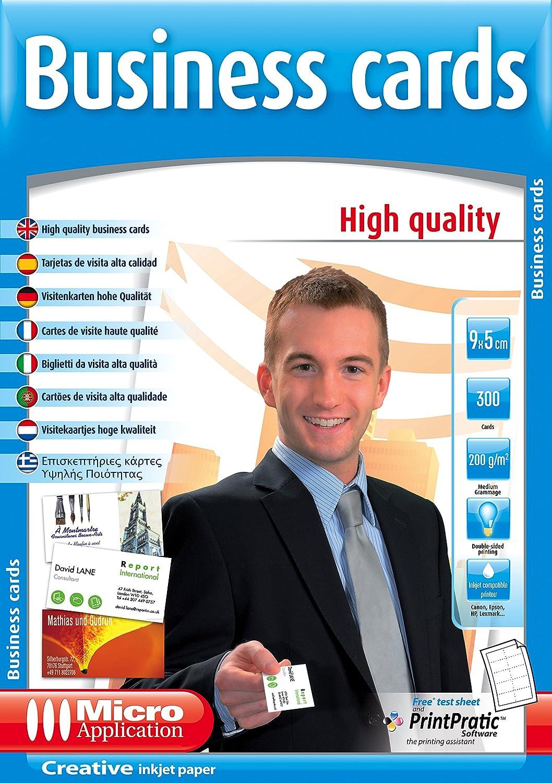 Micro Application Cartes De Visite Haute Qualite 9x5 Cm 200g M2 300 PCs