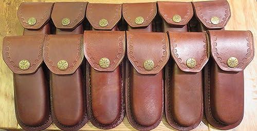 Rite Edge Lot of 12 New Leather 5 Folding Knife'sheaths - case - Heavy Duty Brown