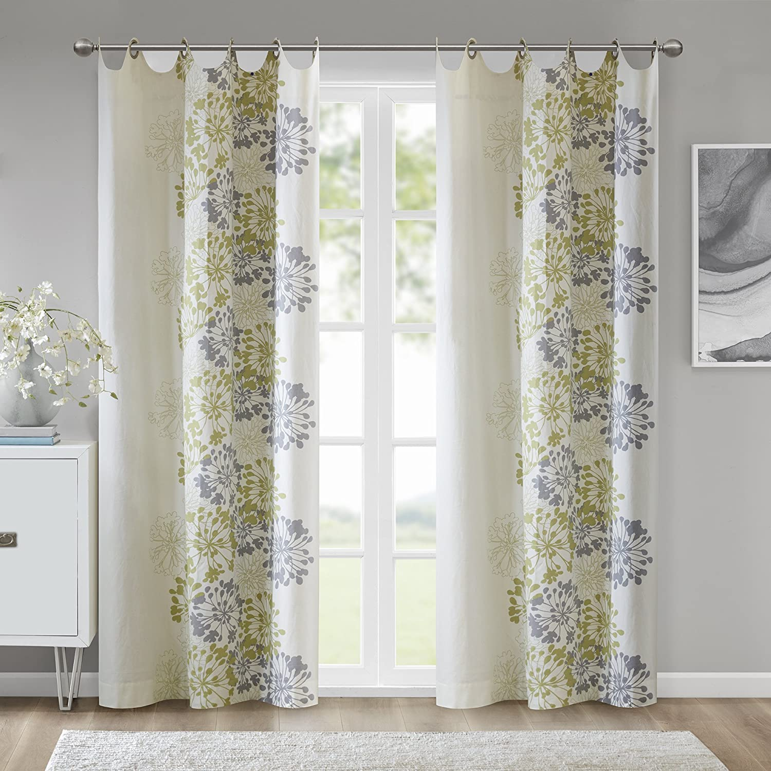 Modern Contemporary Green Curtains For Bedroom 1 Panel Pack Madison Park Win40 106 50x84 White Curtains For Living Room Print Anaya Fabric Grommet Window Curtains Home Kitchen Draperies Curtains