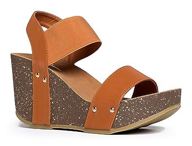 6276973b42f J. Adams Elastic Ankle Strap Platform Wedge Comfortable Open Toe Sandal Casual  Low Slip On