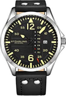 Stuhrling Original Mens Leather Watch - Black Aviation Watch Dial, Quick-Set Day-