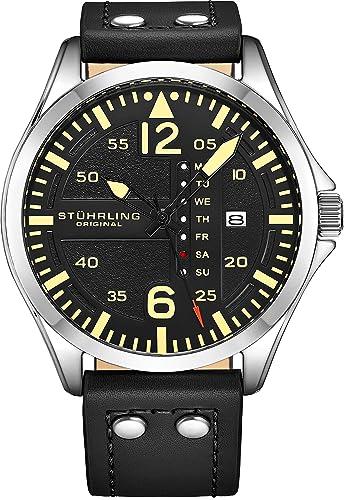 Stuhrling Original Reloj de Cuero para Hombre – Esfera de Reloj de aviación Negra, Juego
