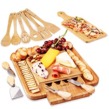 Charcuterie Cheese Board & Knives Set: Bamboo Serving Trays & Pizza Platter for Parties, Entertaining or House Warming - Wood Cutting Tray with Pull Out Knife Drawer, Steel Cutlery & Serving Utensils