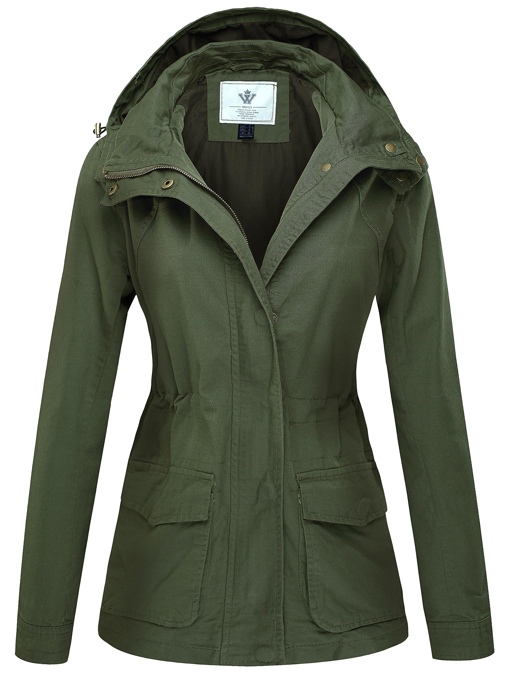 WenVen Women's Versatile Militray Zipper Slim Fit Jackets with Drawstring Hoodie(Army Green,XXX-Large)
