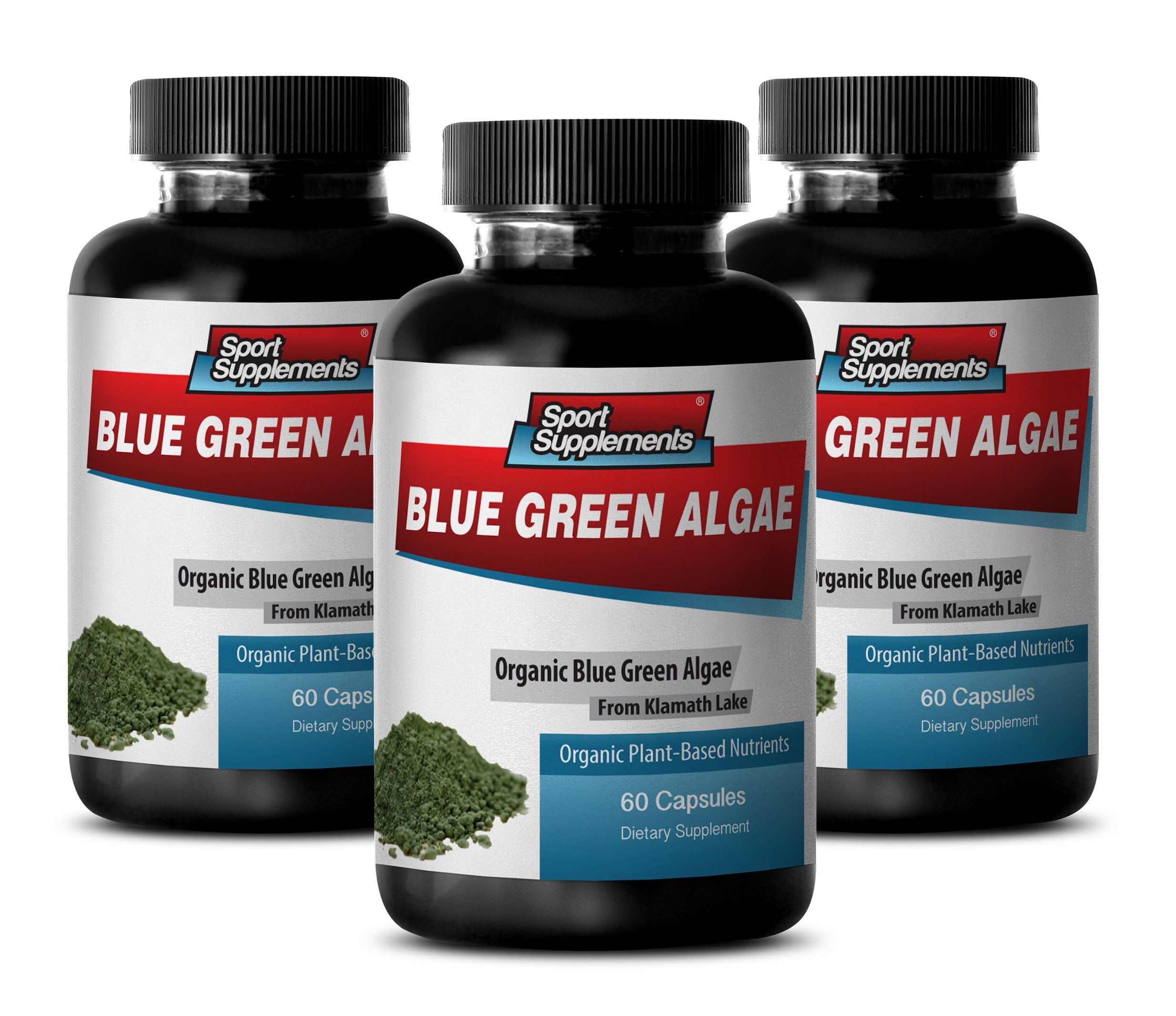 Pure Green Superfood - Klamath Blue Green Algae 500mg - Increase Energy Levels, Improve Digestion and Enhance Immune System (3 Bottles 180 Capsules)