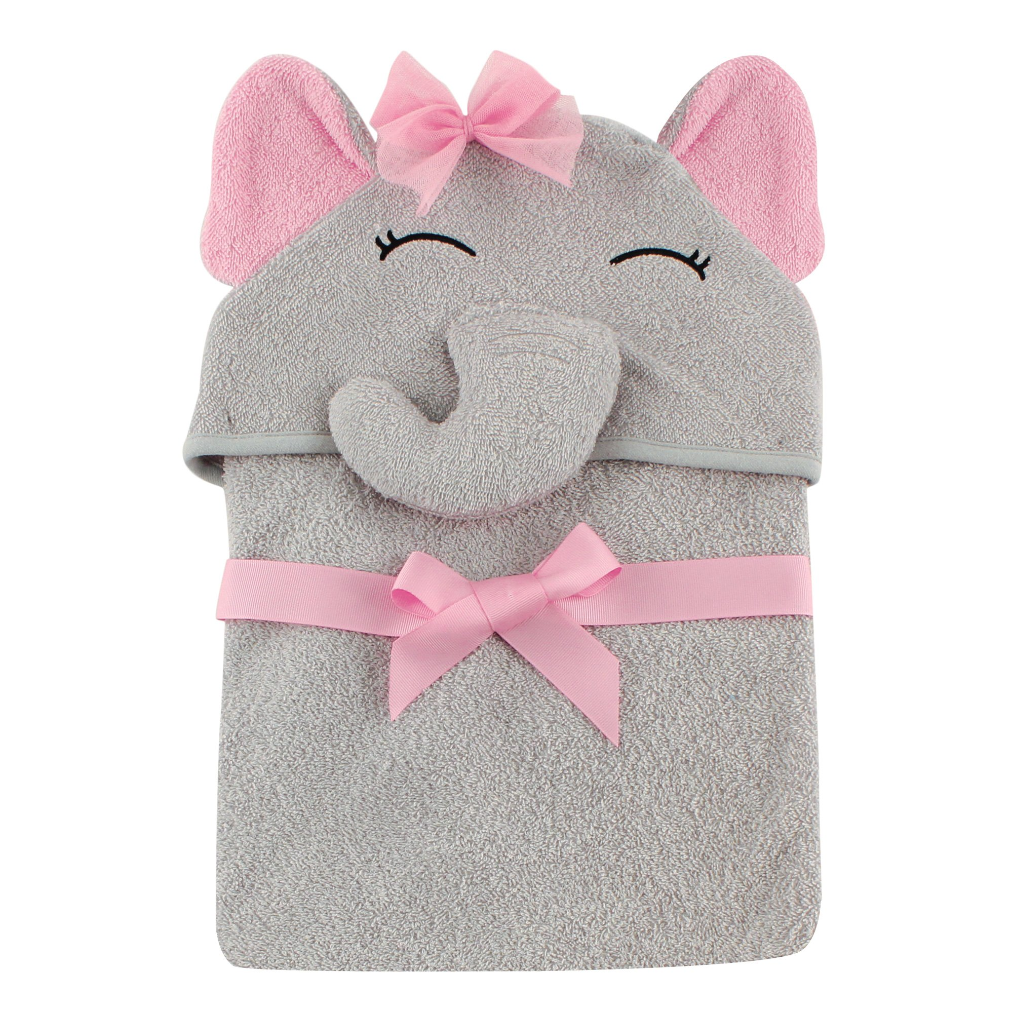 Hudson Baby Animal Face Hooded Towel, Girl Elephant by Hudson Baby (Image #3)