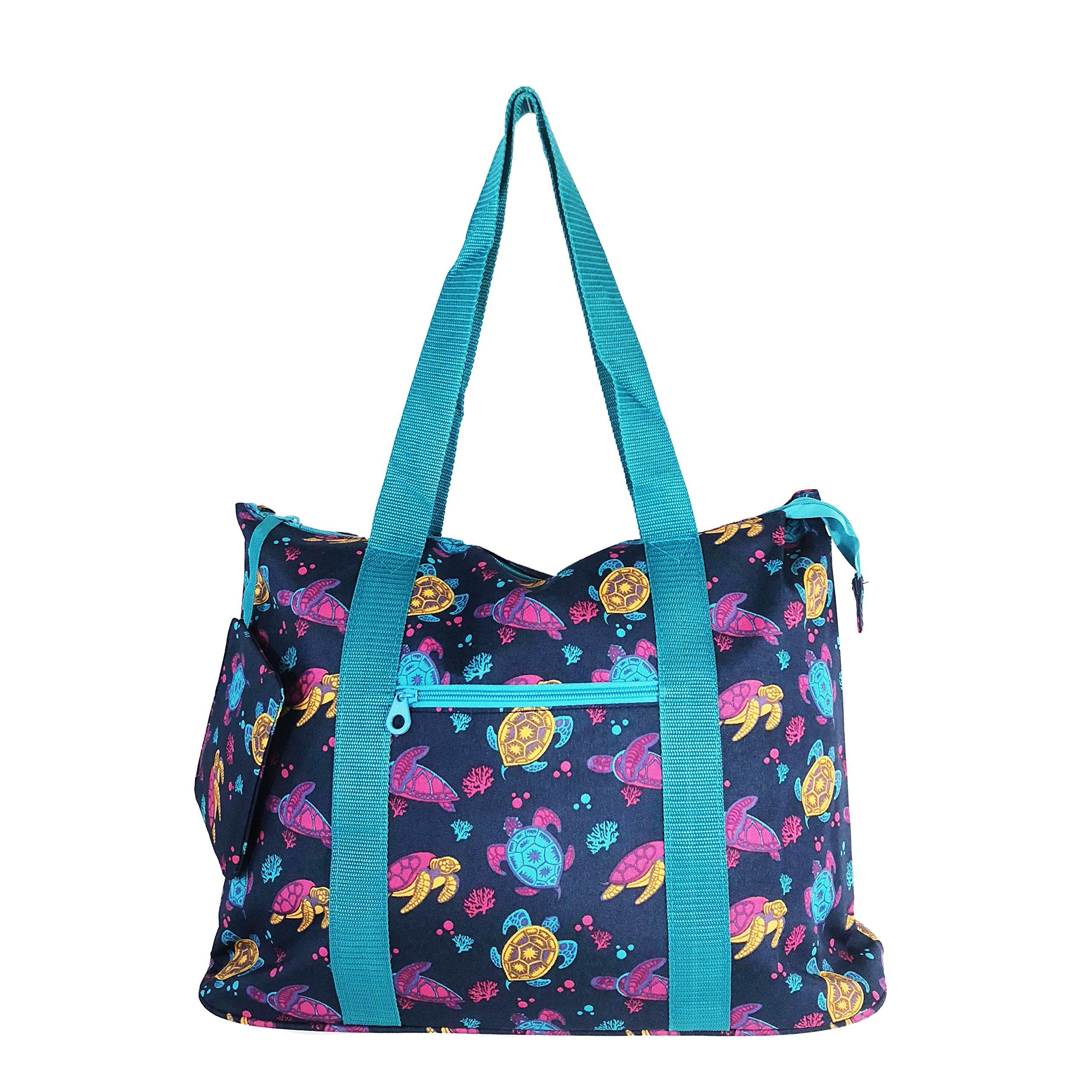 Allgala 19'' Shopping Travel Tote Bag (N Turtle Blue)