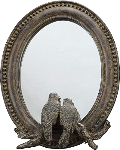 Creative Co-op Oval Resin Bird Mirror, Brown