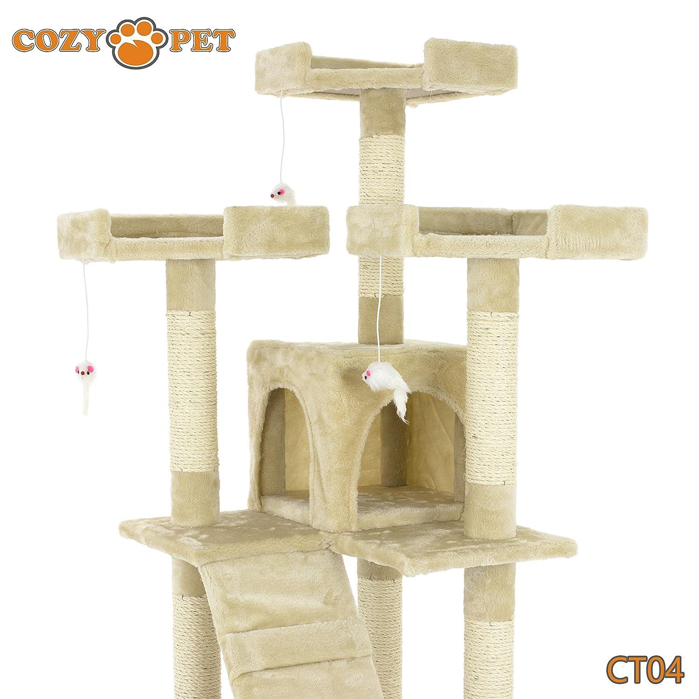 Espace de jeu solide en sisal beige Avec grattoir et plusieurs étages Arbre à chat de luxe et confortable gris et rose Cozy Pet Ltd CT12-Grey